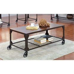 Furniture of America Benellie Coffee Table with Casters in Black