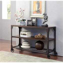 Furniture of America Benellie Console Table with Casters in Black
