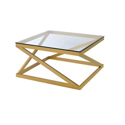 Furniture of America Emondee Square Glass Top Coffee Table in Gold