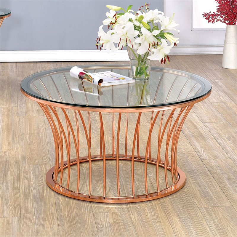 Furniture Of America Depoy Round Glass Top Coffee Table In