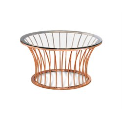 Furniture of America Depoy Round Glass Top Coffee Table in Rose Gold