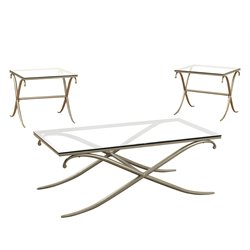 Furniture of America Sainez 3 Piece Coffee Table Set in Champagne