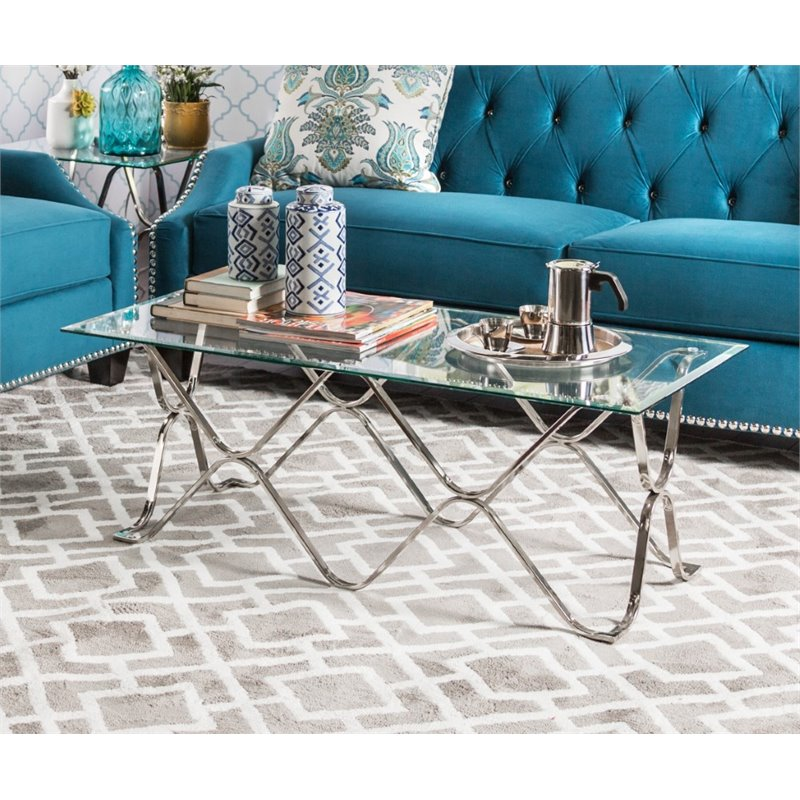 Furniture of America Hobbs Glass Top Coffee Table in Chrome