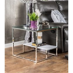 Furniture of America Nadia Square Glass Top End Table in White