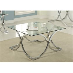 Furniture of America Sarif Square Glass Top Coffee Table in Chrome