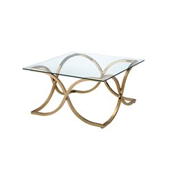Furniture of America Sarif Square Glass Top Coffee Table in Champagne
