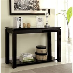 Furniture of America Kristof Glass Top Console Table in Glossy Black