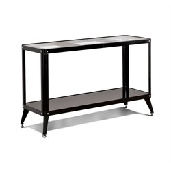 Furniture of America Jaxan Metal Glass Top Console Table in Black