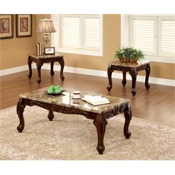 Furniture of America Burseel 3 Piece Coffee Table Set in Dark Oak