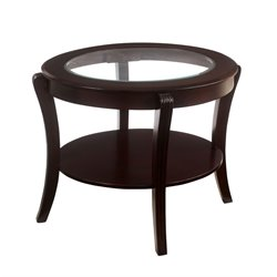 Furniture of America Stemplez Glass Top End Table in Espresso