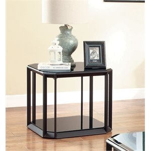 Furniture of America Beryl Glass Top End Table in Black and Brown
