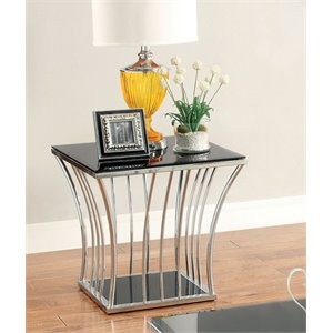 Furniture of America Lethe Square Glass Top End Table in Black