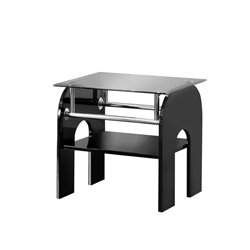Furniture of America Gilcrease Square Glass Top End Table in Black
