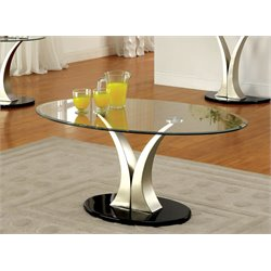 Furniture of America Mansa Oval Glass Top Coffee Table in Satin