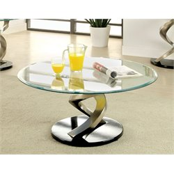 Furniture of America Marisa Oval Glass Top Coffee Table in Satin