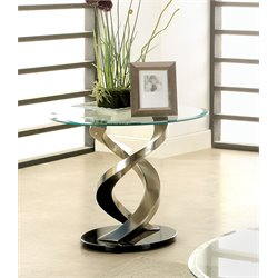 Furniture of America Marisa Round Glass Top End Table in Satin