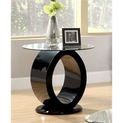 Furniture of America Mason Round Glass Top End Table in Black