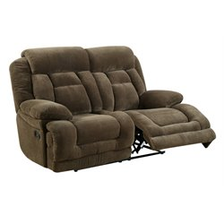 Furniture of America Locke Tufted Reclining Loveseat in Brown