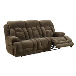 Furniture of America Locke Tufted Power Reclining Sofa in Brown