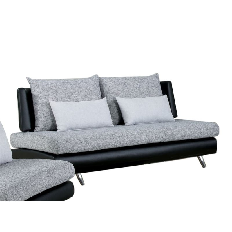 Furniture of america justin fabric and leather sofa in for Black fabric couches