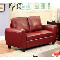 Furniture of America Parvi Leather Loveseat in Red