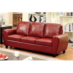 Furniture of America Parvi Leather Sofa in Red