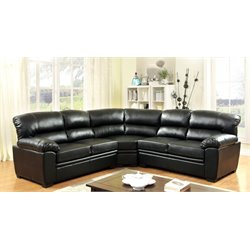 Furniture of America Jaran Leather Tufted Sectional in Black