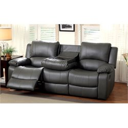 Furniture of America Walin Leather Reclining Sofa in Gray