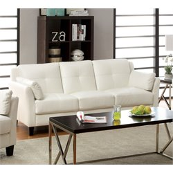 Furniture of America Tonia Leather Tufted Sofa in White