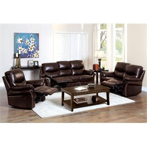 Furniture of America Wess 3 Piece Leather Reclining Sofa Set in Brown
