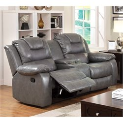 Furniture of America Luanne Leather Reclining Loveseat in Gray
