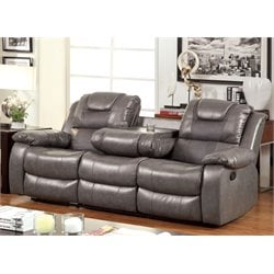 Furniture of America Luanne Leather Reclining Sofa in Gray