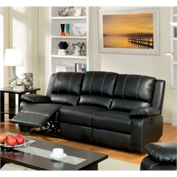 Furniture of America Maroney Leather Reclining Sofa in Black