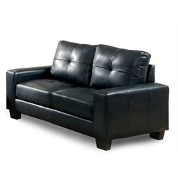 Furniture of America Guave Modern Leather Tufted Loveseat in Black