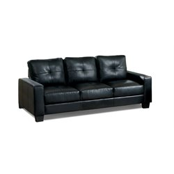 Furniture of America Guave Modern Leather Tufted Sofa in Black
