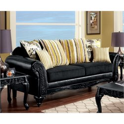 Furniture of America Joshi Upholstered Sofa in Black and Yellow
