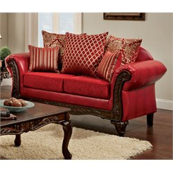 Furniture of America Hassan Upholstered Loveseat in Red