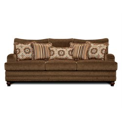 Furniture of America Reagan Fabric Sofa in Brown