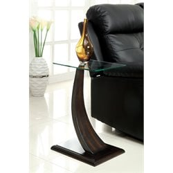 Furniture of America Parks Glass Top End Table in Dark Walnut