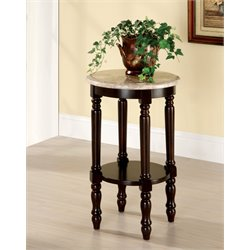 Furniture of America Donovan Round Marble Top End Table in Dark Cherry