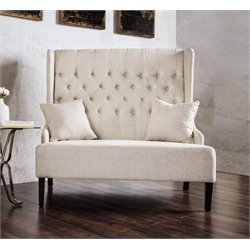 Furniture of America Mahle Tufted Wingback Settee in Ivory