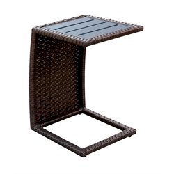 Furniture of America Manners Patio End Table in Espresso (Set of 2)