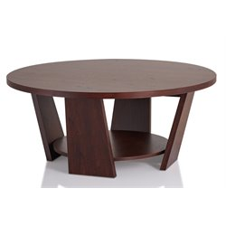 Furniture of America Ernest Round Coffee Table in Vintage Walnut