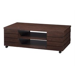 Furniture of America Micah Coffee Table with Casters in Vintage Walnut