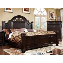 Furniture of America Damos King Panel Bed in Dark Walnut