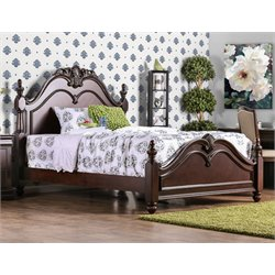 Furniture of America Ruben California King Poster Bed in Cherry