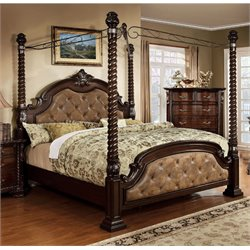 Furniture of America Cathey King Poster Canopy Bed in Dark Walnut
