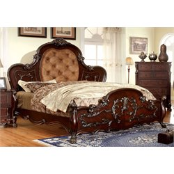 Furniture of America Coppedge King Traditional Tufted Bed in Cherry