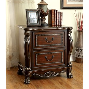 Furniture of America Coppedge 2 Drawer Nightstand in Cherry