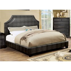 Furniture of America Bunchini King Faux Leather Upholstered Bed